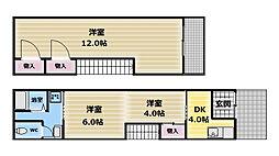 大阪府東大阪市足代新町の賃貸アパートの間取り