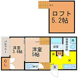 愛知県名古屋市北区下飯田町3丁目の賃貸アパートの間取り