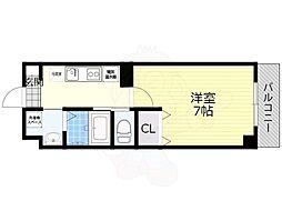 阪急京都本線 正雀駅 徒歩3分の賃貸マンション 7階1Kの間取り
