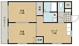上島やよいマンション[301号室]の間取り