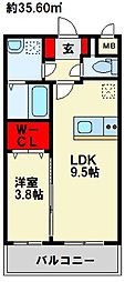 JR鹿児島本線 水巻駅 徒歩5分の賃貸マンション 2階1LDKの間取り