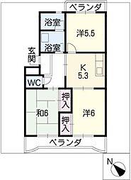 ハイドリームマンションII[3階]の間取り