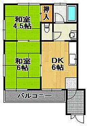 兵庫県宝塚市南口2丁目の賃貸アパートの間取り