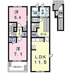 Viola弐番館 2階2LDKの間取り