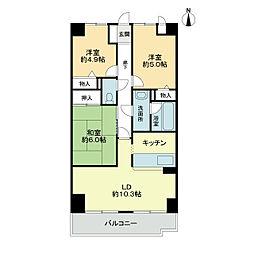 スカール喜多川A棟[3階]の間取り