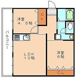 大内田ビル NO2[4階]の間取り