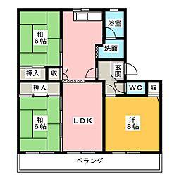 パビリオン朝宮公園B棟(301)[3階]の間取り