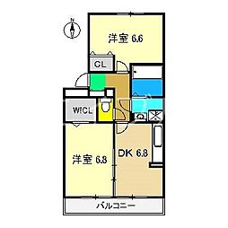 リビングタウン北川添 A棟[2階]の間取り