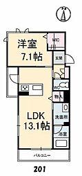 仮称)グランべレオ南手城 北棟 2階1LDKの間取り