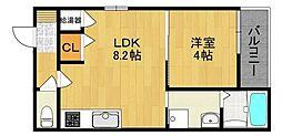 JR関西本線 平野駅 徒歩9分の賃貸アパート 2階1LDKの間取り