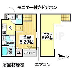 愛知県名古屋市南区外山2の賃貸アパートの間取り