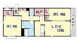 兵庫県神戸市中央区筒井町1丁目の賃貸アパートの間取り