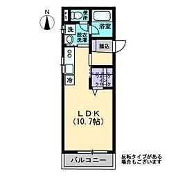 Maison de QuatreII 2階ワンルームの間取り