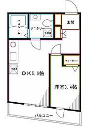 西武新宿線 鷺ノ宮駅 徒歩6分の賃貸マンション 2階1DKの間取り