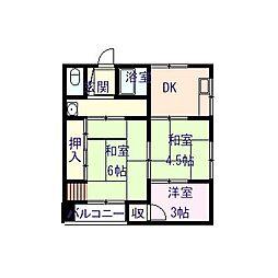三聖マンション[3W号室]の間取り