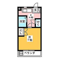 PARK SAID IWASAKI 1階1Kの間取り