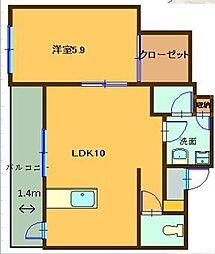 ヒルズルームラ 2階1LDKの間取り
