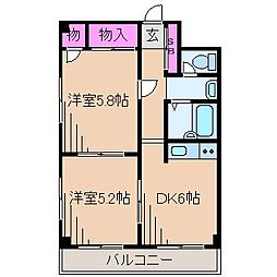 神奈川県川崎市幸区小倉3丁目の賃貸マンションの間取り