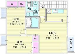 仙台市地下鉄東西線 八木山動物公園駅 4.2kmの賃貸アパート 2階2LDKの間取り