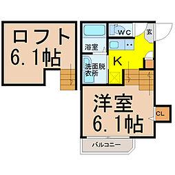 名古屋市営鶴舞線 原駅 徒歩4分の賃貸アパート 1階1SKの間取り