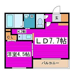 札幌市営東豊線 新道東駅 徒歩2分の賃貸マンション 2階1LDKの間取り