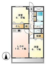 ギブリ千音寺[3階]の間取り