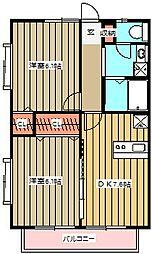 ベルハウス貫井B棟[202号室]の間取り