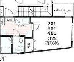 ピアコートTM東武練馬参番館 2階1Kの間取り