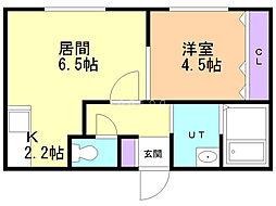 Quint(クイント)菊水元町 1階1LDKの間取り