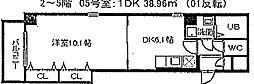 プライムコ−ト栄生[401号室]の間取り