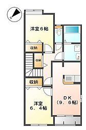 神奈川県相模原市中央区田名塩田3丁目の賃貸アパートの間取り