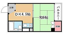 大阪府豊中市岡町2丁目の賃貸マンションの間取り