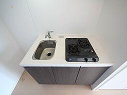 グラン・アベニュー西大須のシステムキッチン(ガス2口)冷蔵庫・レンジ等ご用意できます