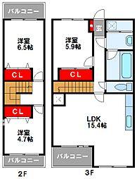 ビ・ザ・ビ・ランドII S 3階3LDKの間取り