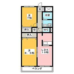三重県伊賀市平野城北町の賃貸マンションの間取り