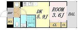 サムティ福島Rufle 5階1DKの間取り