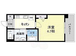 カーサミーア 2階1Kの間取り