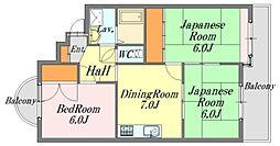 広島県廿日市市佐方4丁目の賃貸マンションの間取り