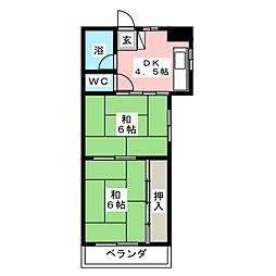 西村マンションB棟[3階]の間取り