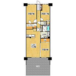 ウェリスつくば研究学園レジデンスブライトサイド 1108号室[1階]の間取り