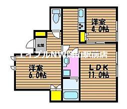 岡山県岡山市南区福成3の賃貸アパートの間取り