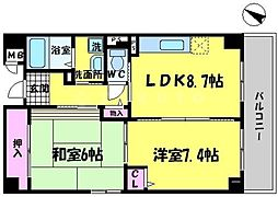 メゾンエトワール 5階2LDKの間取り