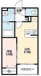 阪神本線 甲子園駅 徒歩12分の賃貸アパート 3階1LDKの間取り