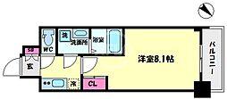 S-RESIDENCE阿波座WEST 3階1Kの間取り