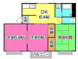 タウニー金子A[3階]の間取り