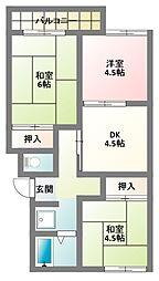 大阪府門真市北岸和田3丁目の賃貸アパートの間取り