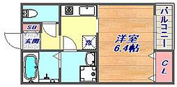 フローラ岡本[202号室]の間取り