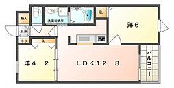 ドゥ—ボヌール[4階]の間取り
