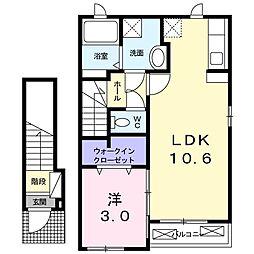 プラシ−ドS 2階1LDKの間取り