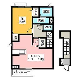静岡県焼津市石津向町の賃貸アパートの間取り